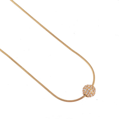 Gold Balla Pendant Necklace with White Austrian Crystal Ball Pendant