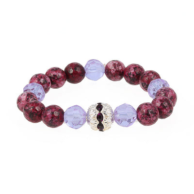Balla Fuchsia Emperor Stone Bracelet with Purple and Crystal Beads