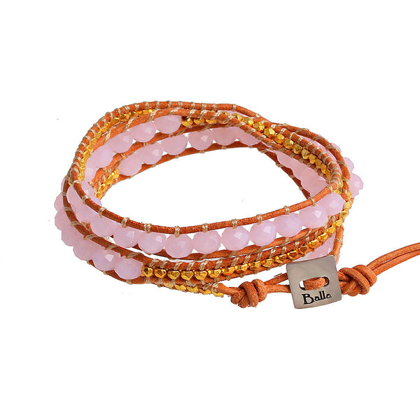 Balla Golden Sunset Leather Wrap Bracelet with Pink and Gold Beads
