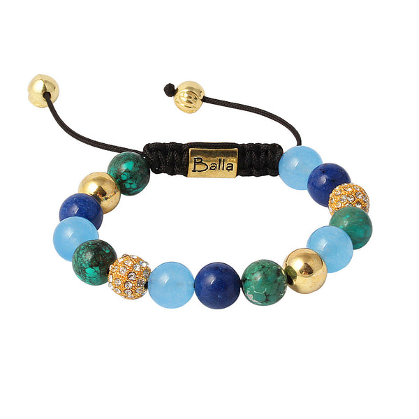 Balla Atlantis Gold Bracelet with Blue, Green, and Crystal Beads