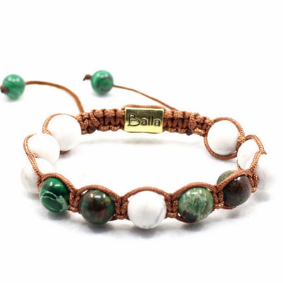 Balla Lush Paradise Bracelet with Green and White Marble Beads