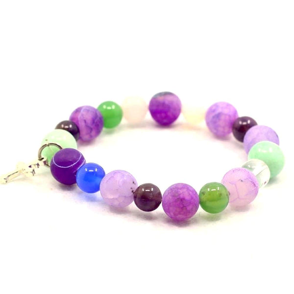 Balla Prayer Bracelet with Purple Beads and Silver Cross Charm