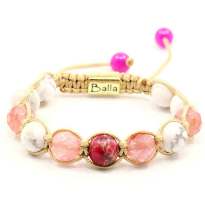 Balla Coral Bliss Bracelet with Pink Stones and White Marble Beads