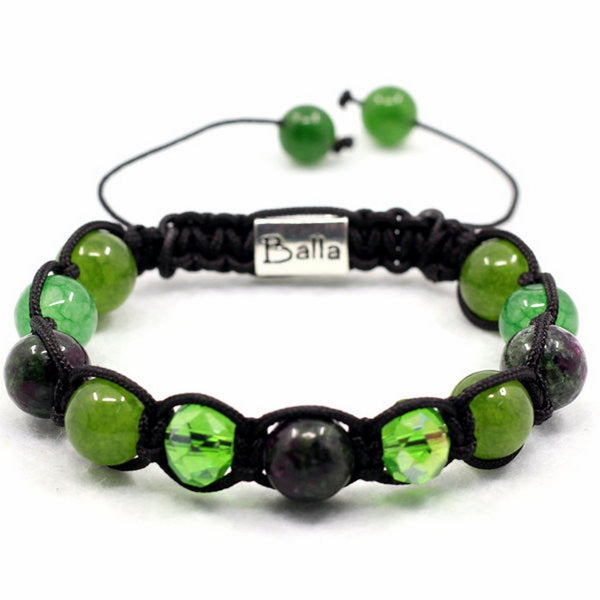 Balla Emerald Meadows Bracelet Green Black and Crystal Beads