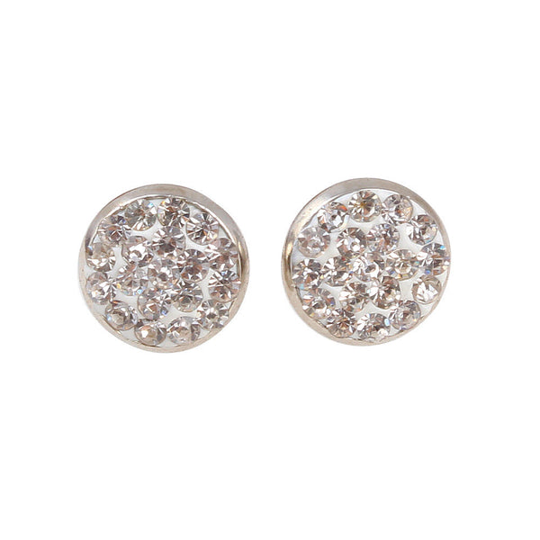 White Austrian Crystal Balla Stud Earrings with Post and Back