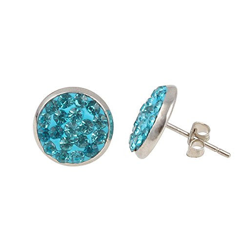 Aquamarine Blue Crystal Balla Earrings with Stainless Post and Back
