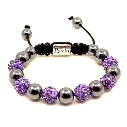 Purple Hope Balla Bracelet with Silver Magnetic Hematite Beads