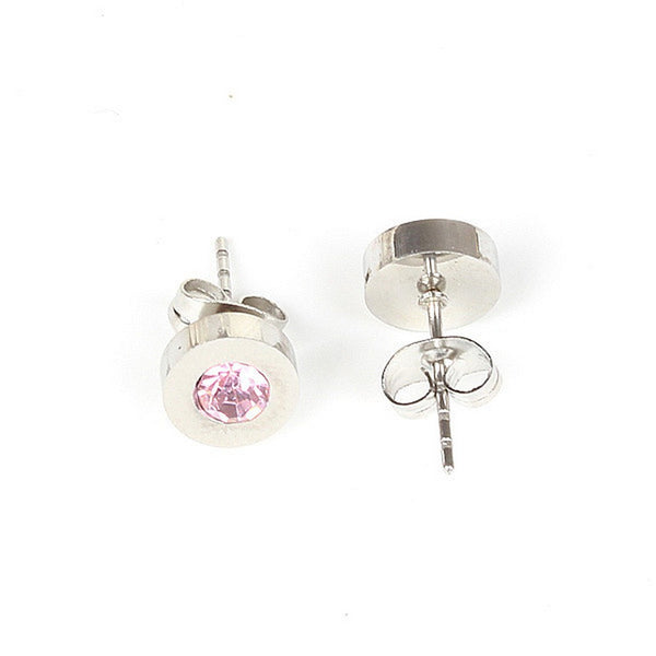 Balla Austrian Crystal Pink Halo Stud Earrings with Post and Back