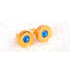 Balla Blue Crystal and Gold Halo Stud Earrings with Post and Back
