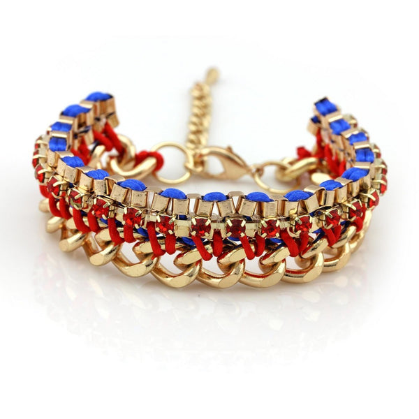 Balla Red Abbey Bracelet with Gold Chain and Bright Blue Accents