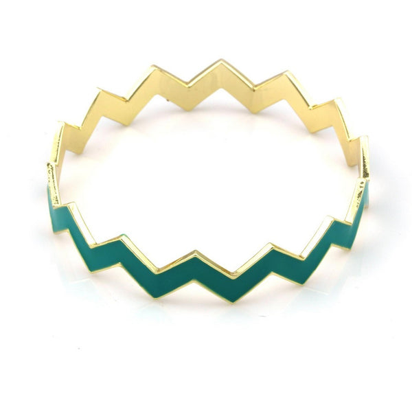 Balla Claire Teal Green and Golden Stackable Bangle Bracelet