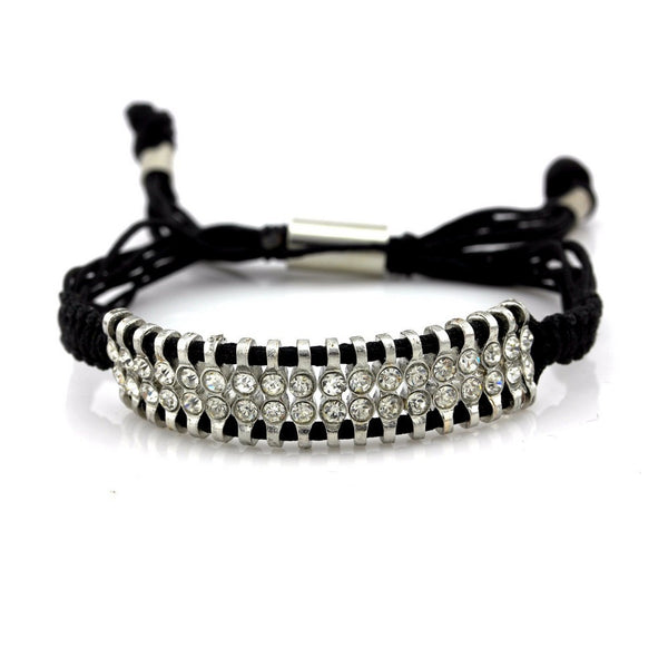 Balla Kendall Black Bracelet with Silver and White Stone Accents