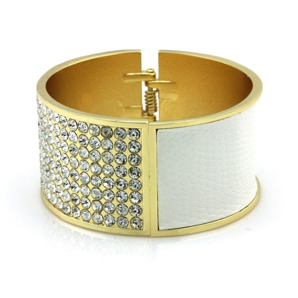 Balla Leather and Crystal Chloe White Cuff Bracelet