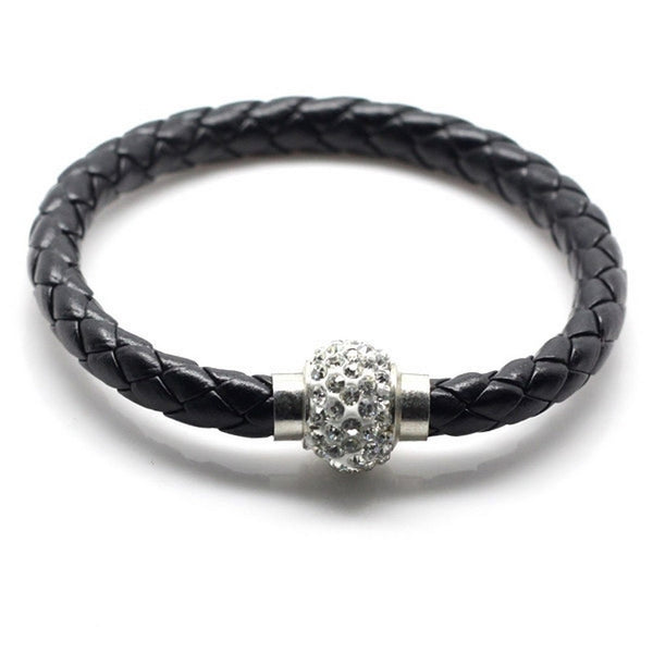 Black Yin Yeng Balla Bracelet with Crystal Bead and Braided Leather