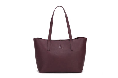 "Balla Large Burgandy Leather Weekender Tote Bag with 9.4"" Drop"