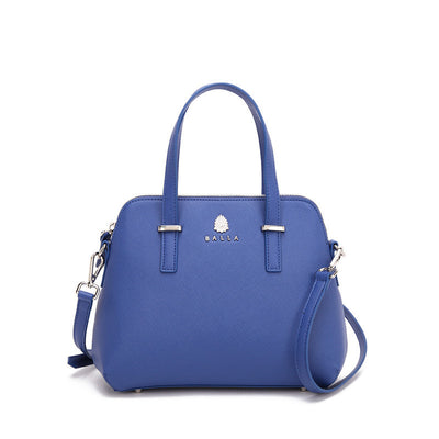 Silver and Blue Leather Abbey Balla Bag with Detachable Shoulder Strap
