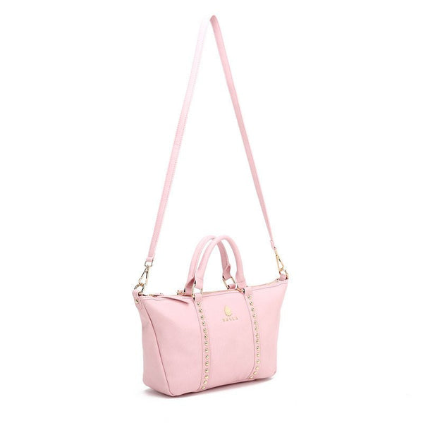 Gold and Pink Magnolia Leather Balla Bag with Detachable Strap