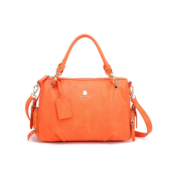 Silver and Coral Leather Chantel Balla Bag with Detachable Strap