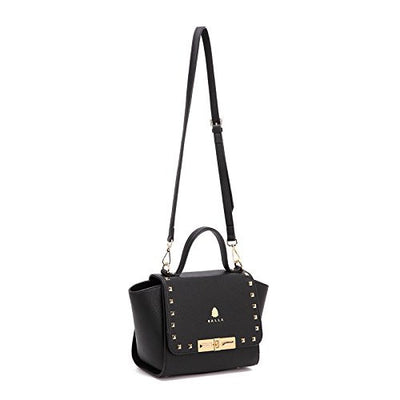 Gold and Black Leather Manhattan Balla Bag with Detachable Strap
