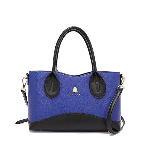 Brooklyn Balla Black and Blue Leather Bag with Detachable Strap