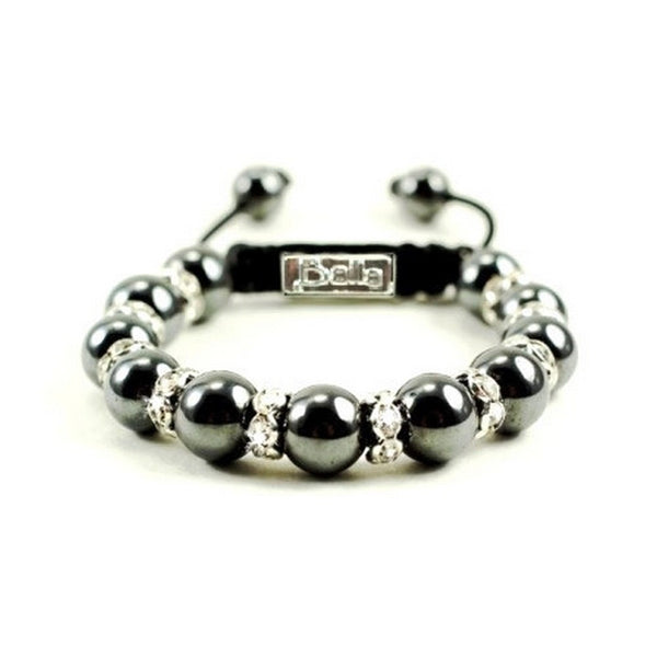 Silver Magnetic Hematite Designer Balla Bracelet with Crystal Beads