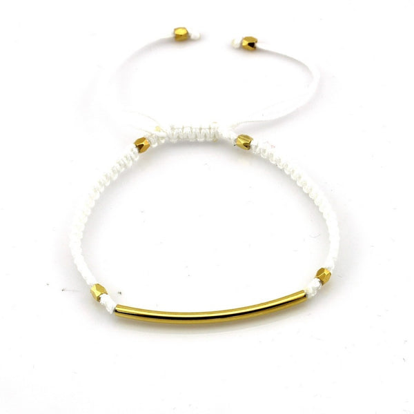 Balla White & Gold Farrah Bracelet with Bar Bead and Adjustable Fit