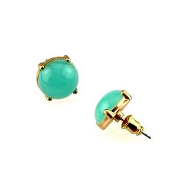 Balla Jade Stone and Gold Plated Stud Earrings with Post and Back