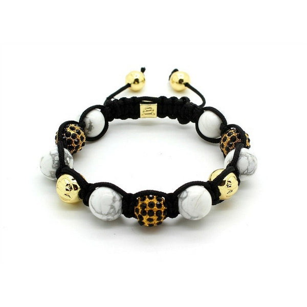 Unity Balla Bracelet with Crystals, White Marble and Gold Beads