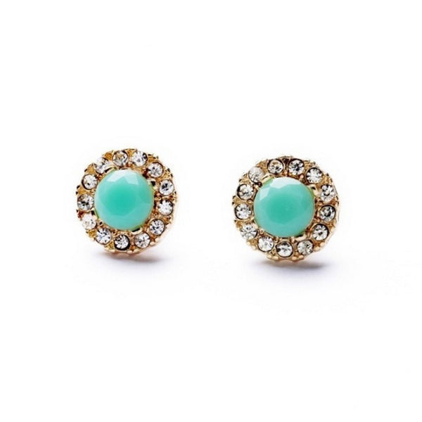 Balla Turquoise & Gold Halo Stud Earrings with White Crystals