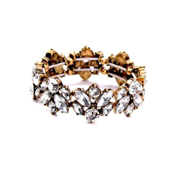 Balla Tiffany Vintage Statement Bracelet with Clear White Gemstones