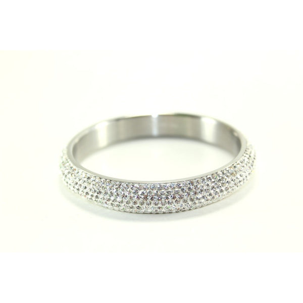 Silver and Austrian White Crystal Balla Stackable Bangle Bracelet