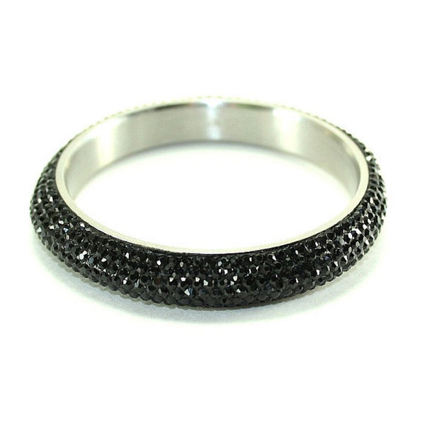 Silver and Austrian Black Crystal Balla Stackable Bangle Bracelet