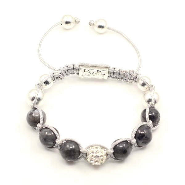 Austrian Crystal and Gray Stone Balla Bracelet with Silver Accents