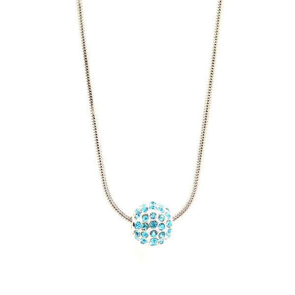 Blue Balla Pendant Necklace with Aqua Austrian Crystal Ball Pendant