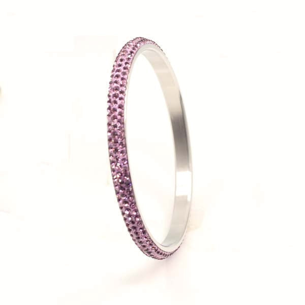 Austrian Purple Crystal Balla Skinny Stackable Bangle Bracelet