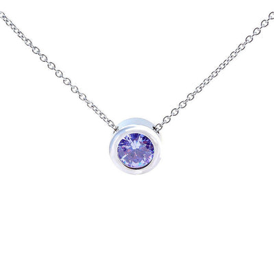 "Balla Silver and Purple Amethyst Halo Pendant Necklace with 18"" Chain"