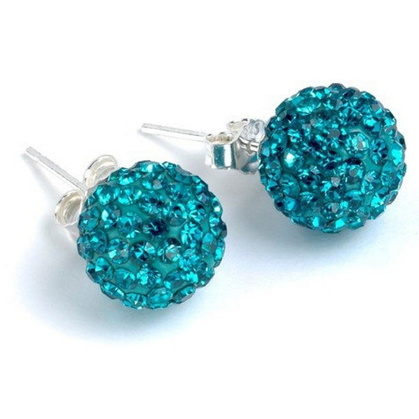 Turquoise Austrian Crystal Balla Stud Earrings with Post and Back
