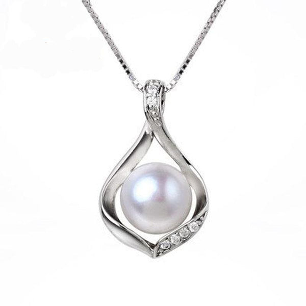 Sterling silver freshwater pearl pendant necklace fashnabelle sterling silver freshwater pearl pendant necklace aloadofball Gallery