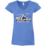 Premium Fitted Ladies' V Neck T-Shirt - Alaska Bush White Logo