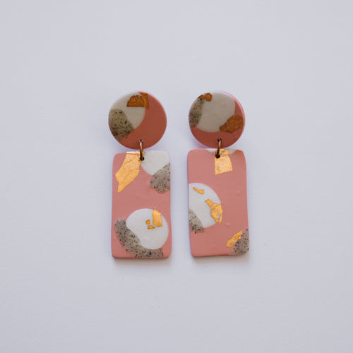 Dusty Rose - Rectangle Dangles