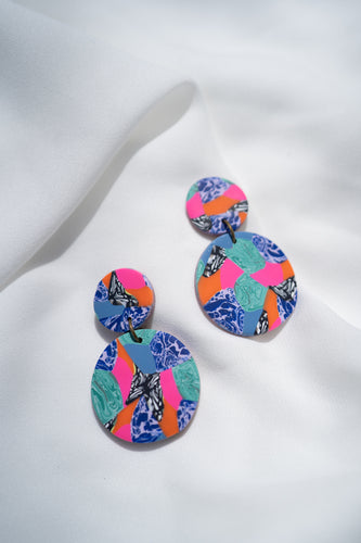 Marbled Madness - Small Round Rooster Dangles