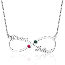 Load image into Gallery viewer, Sterling 8-Shaped English Name And Birthstone Necklace