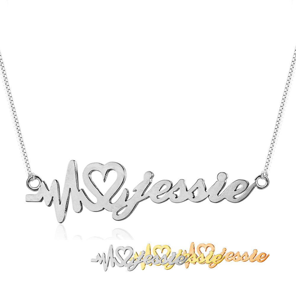 Heartbeat Name Necklace with Box Chain