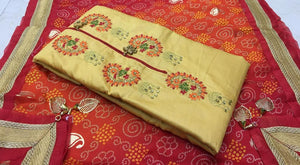 Satin Glace cotton with Gold print Dupatta