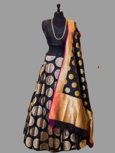 Black Jacquard Lehenga with Banglory silk blouse