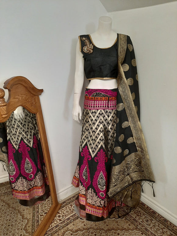 Black with Multicolors Lehenga and Black Dupatta
