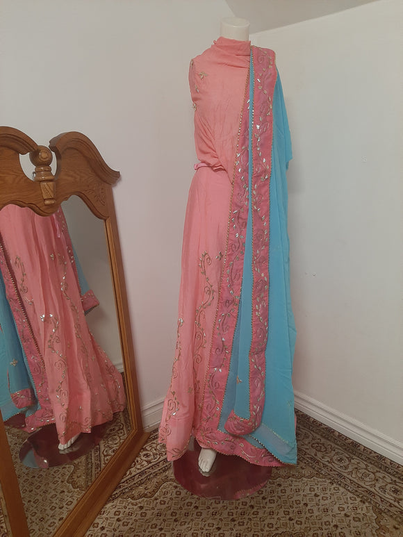 Pink Lehenga with Light Blue Dupatta