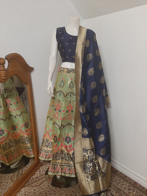 Light Green Lehenga with Dark Blue Dupatta