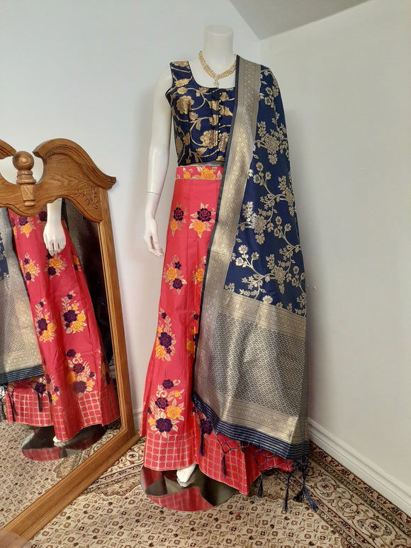Pink and Blue coloured Lehenga