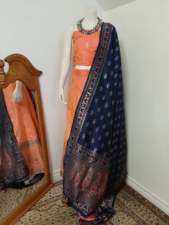 Orange Lehenga with Blue Dupatta